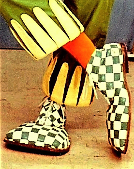 Oopsy the Clown's famous green and white checkered boots